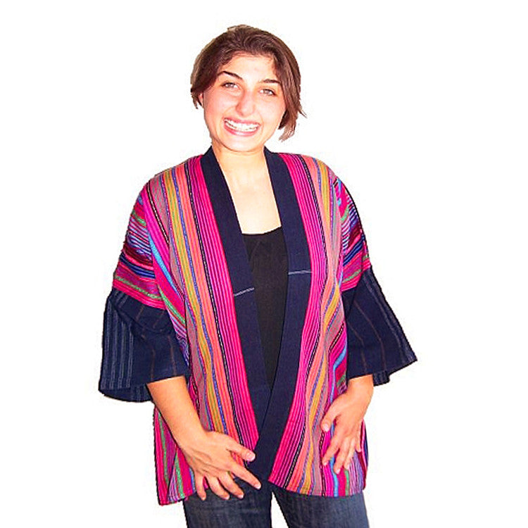 model wearing Multicolor Handwoven Jacket