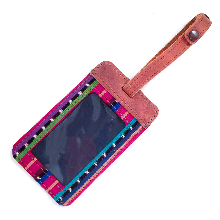Handwoven Luggage Tag with Leather - Corinto