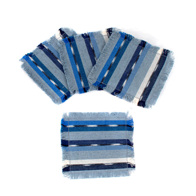 handwoven coasters, blue with recycled denim