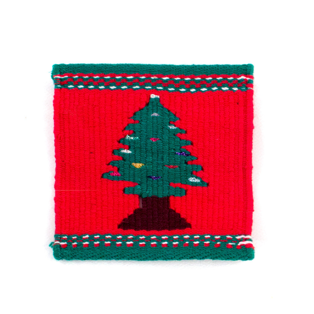 christmas tree tapestry coaster