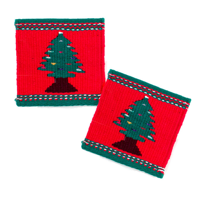 Christmas Tree Tapestry Coasters, set of 2