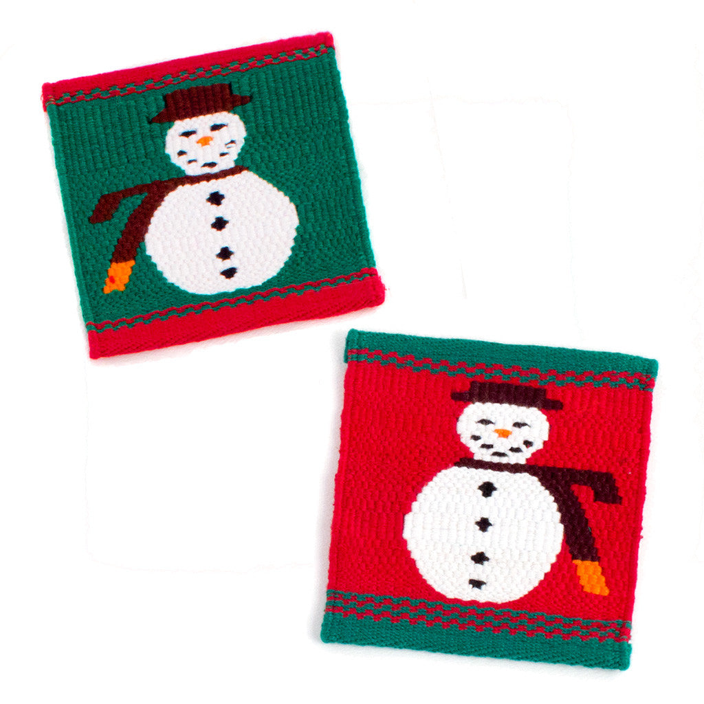Jolly Snowman Tapestry Coaster, set of 2