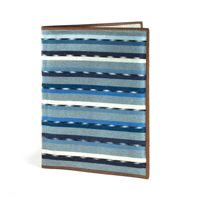 Handwoven Notebook Portfolio - recycled blue denim