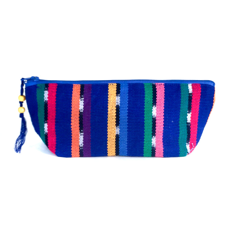 handwoven pencil case - blue ikat