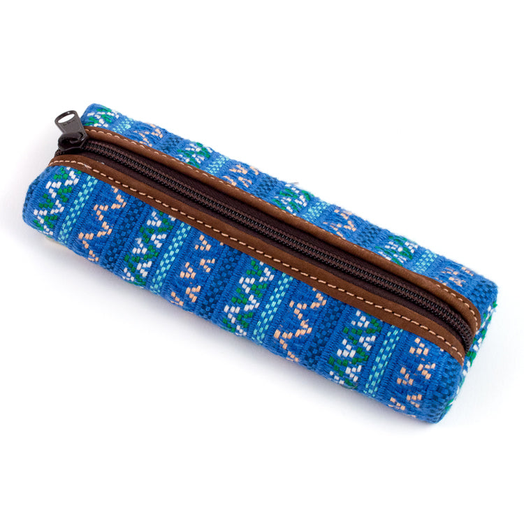 handwoven pencil case blue brocade