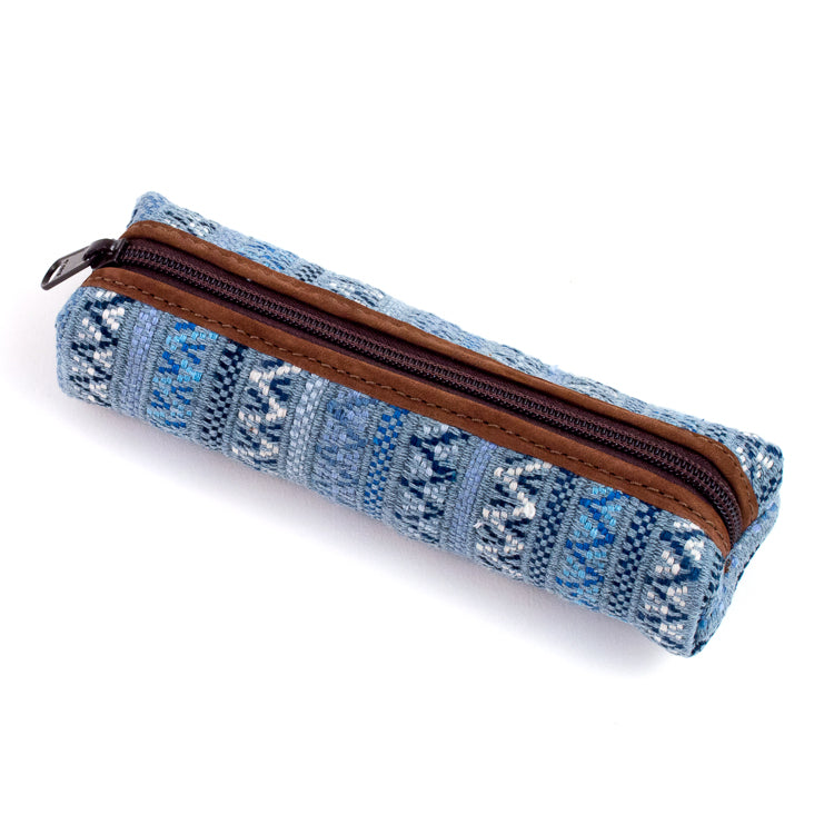 handwoven pencil case recycled denim brocade