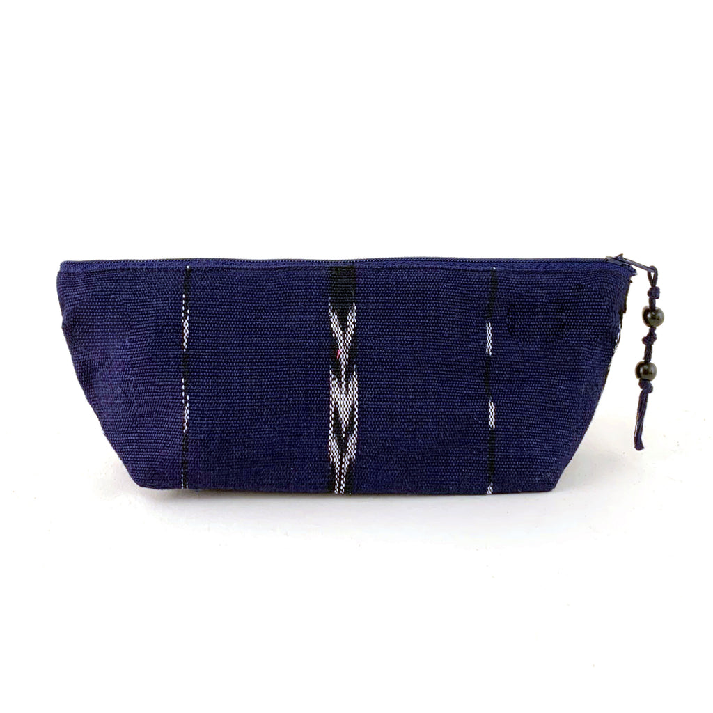 handwoven pencil pouch indigo jaspe