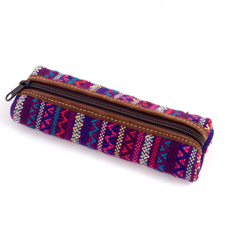 handwoven pencil case purple brocade