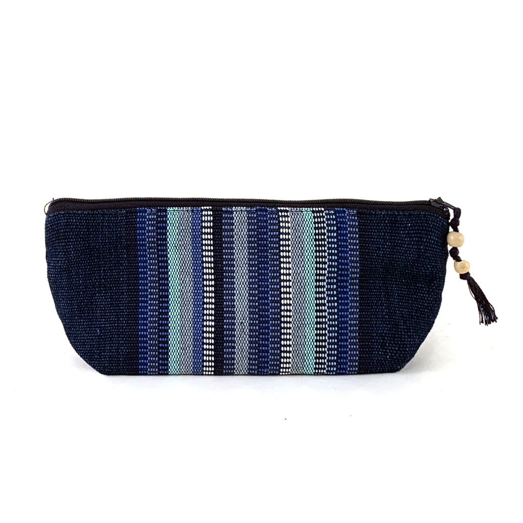 pencil pouch handwoven indigo stripe