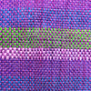 purple with green stripe recycled plastic coin purse with leather fabric
