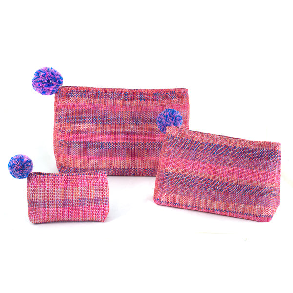 mayan hands assorted pink recycled plastic pouches