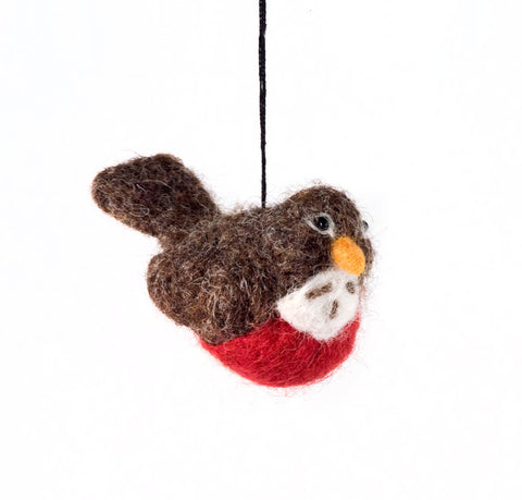 Felted Wool Dove with Heart Ornament