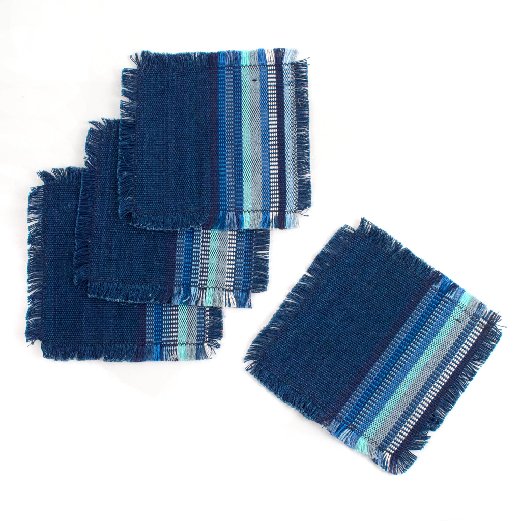 handwoven coaster indigo stripe | Mayan Hands