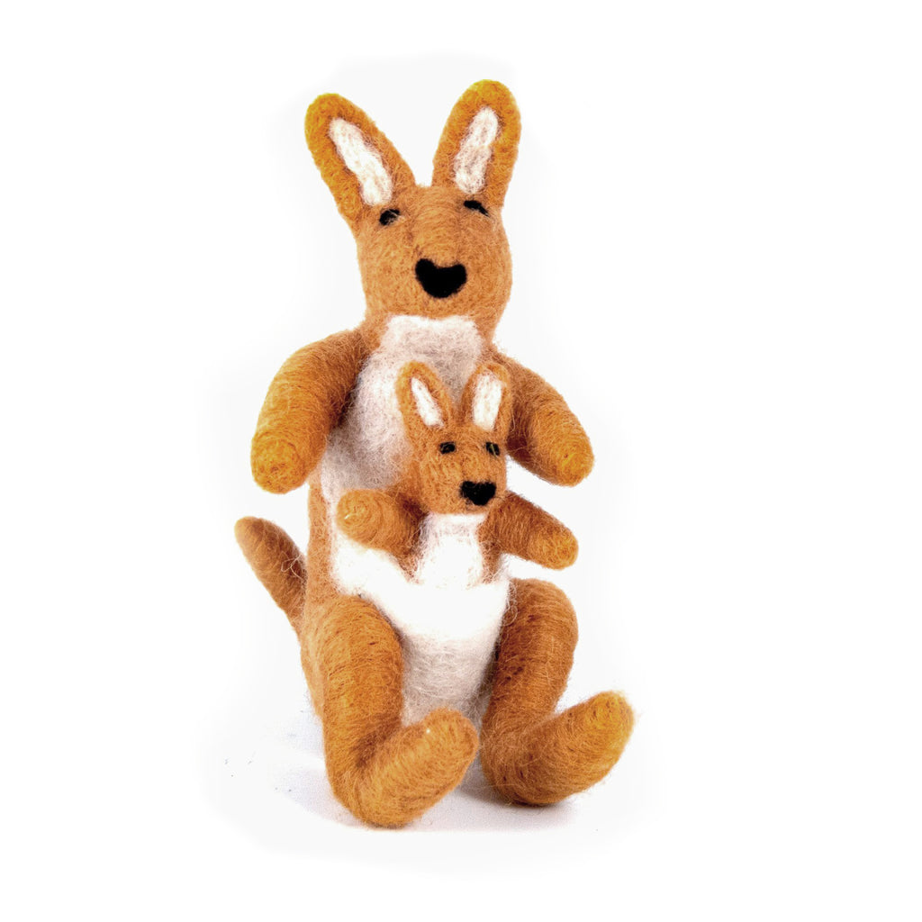 Felted Wool Kangaroo with baby