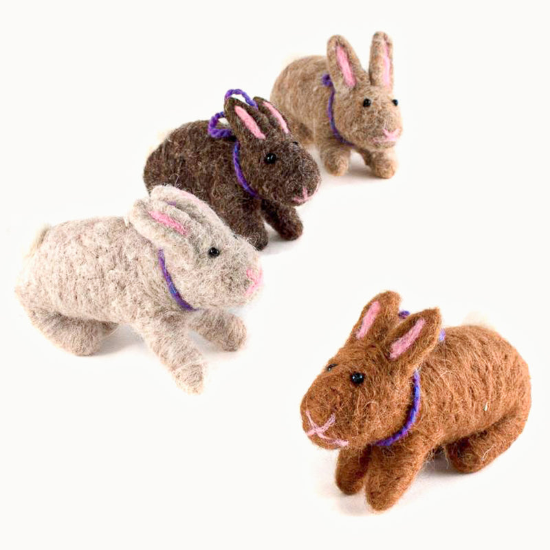 felted wool rabbits - various colors