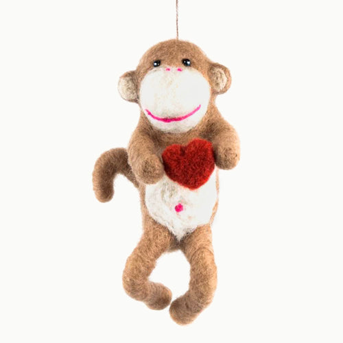 Felted Wool Monkey with Heart