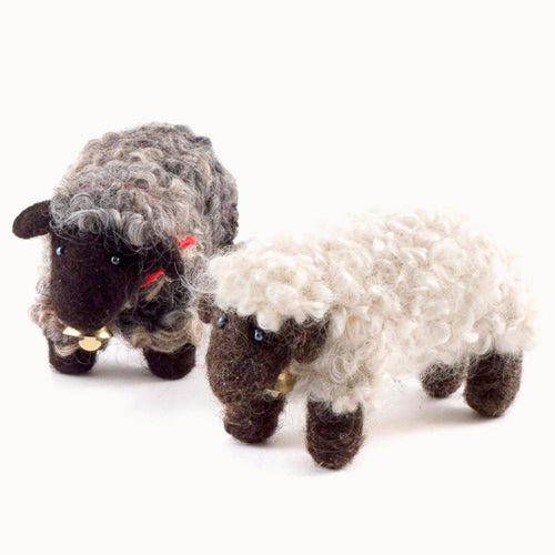 felted wool white and black sheep