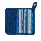 Indigo potholder with blue stripes | Mayan Hands