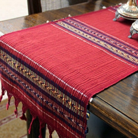 handwoven table runner on table
