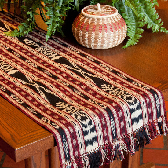ikat table runner on table