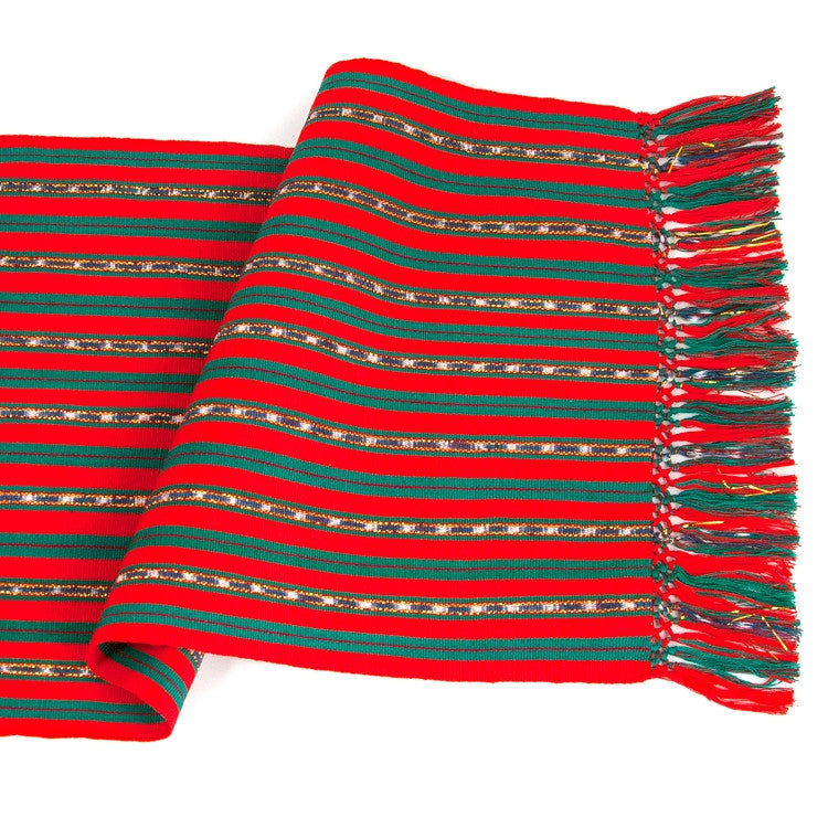 holiday jaspe table runner with gold stripe