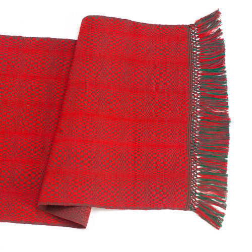 Red Holiday Honeycomb Table Runner