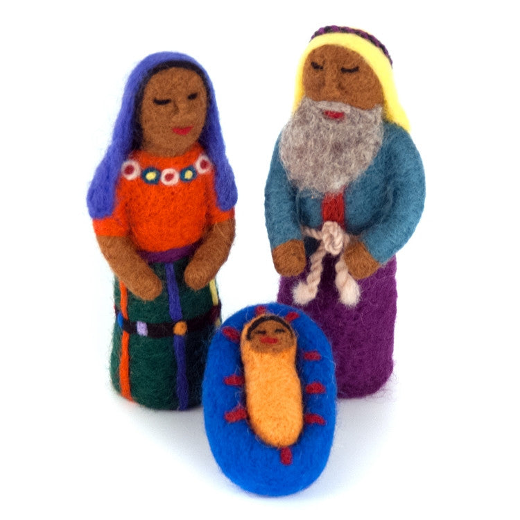 Felted Wool Mayan Nativity