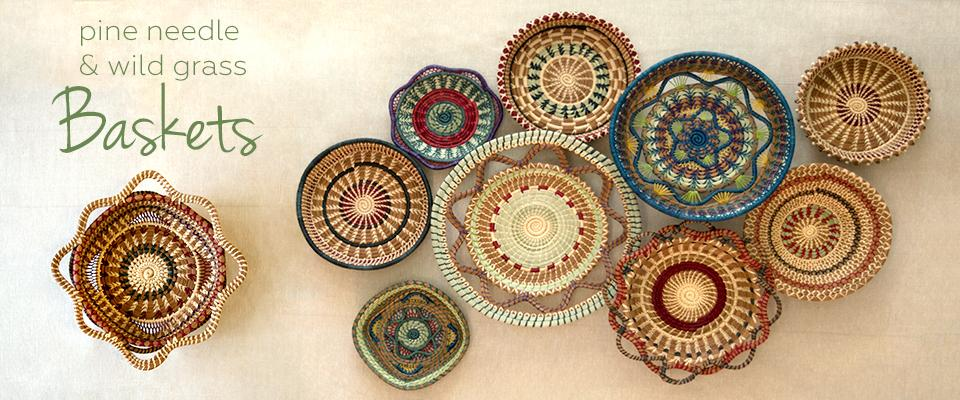 pine needle baskets on table