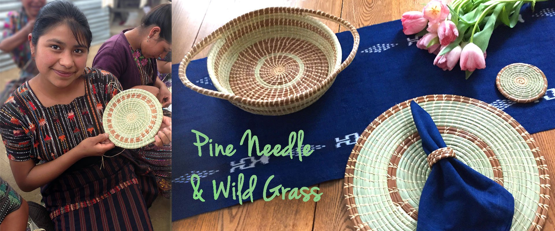 colorful handmade pine needle basket collection