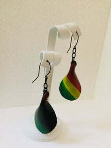 Afro Pedal Leather Black Hook Earrings