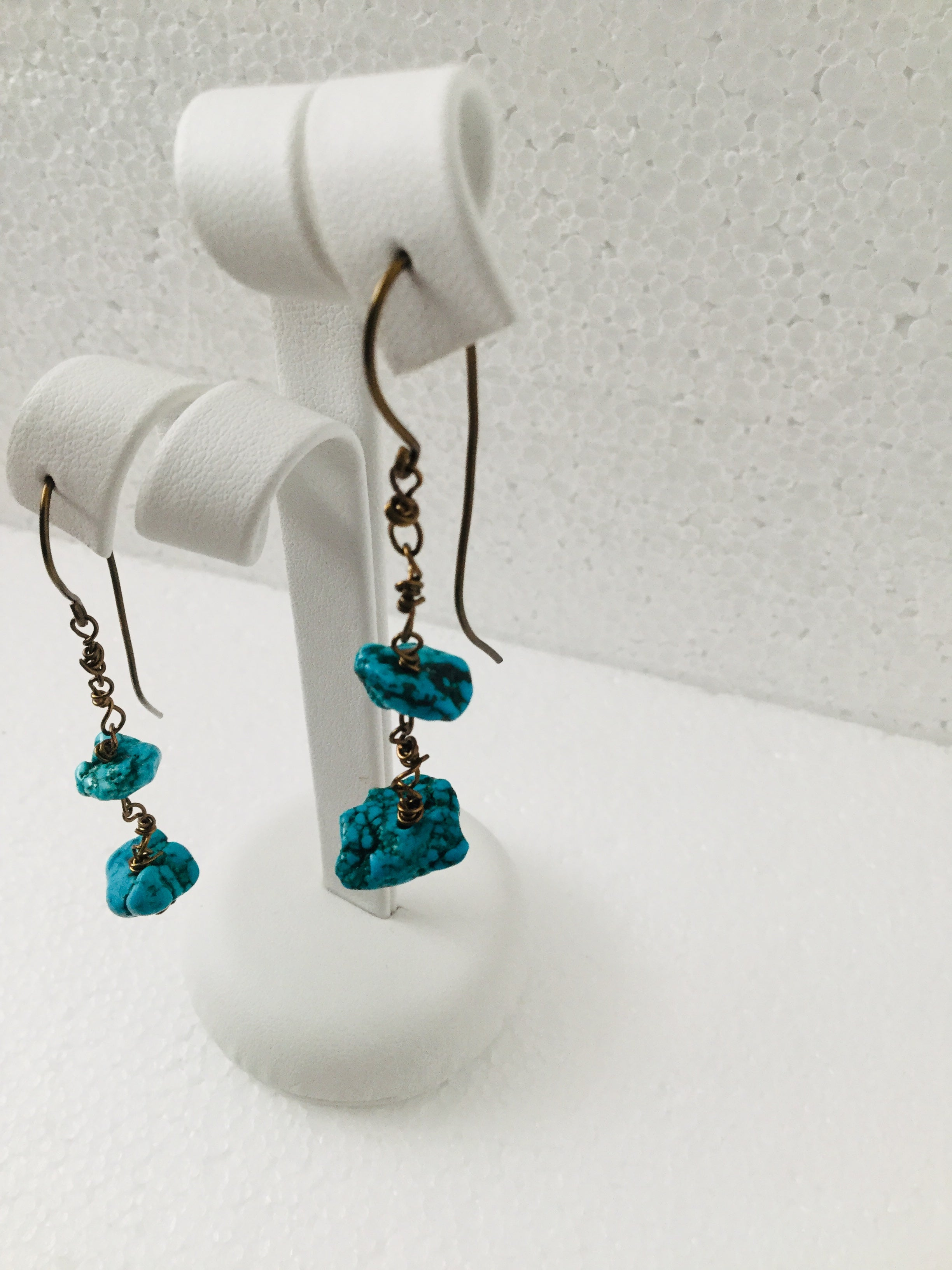 Double Turquoise Dangle Earrings