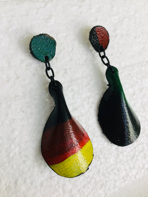 Afro Pedal Leather Post Earrings