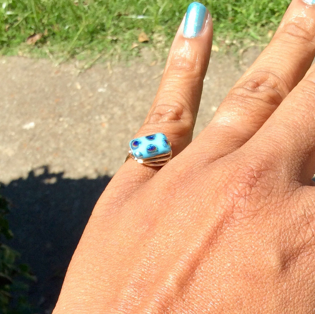 Turquoise Czech Wire Wrap Ring