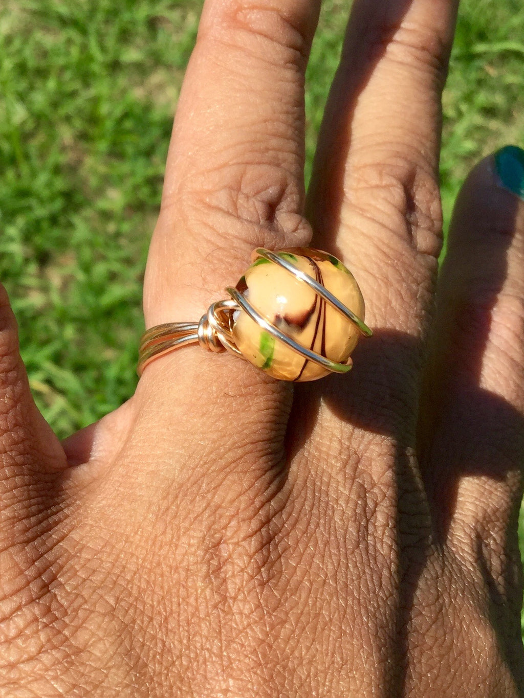 Lovely Lamp-work Wire Wrapped Ring