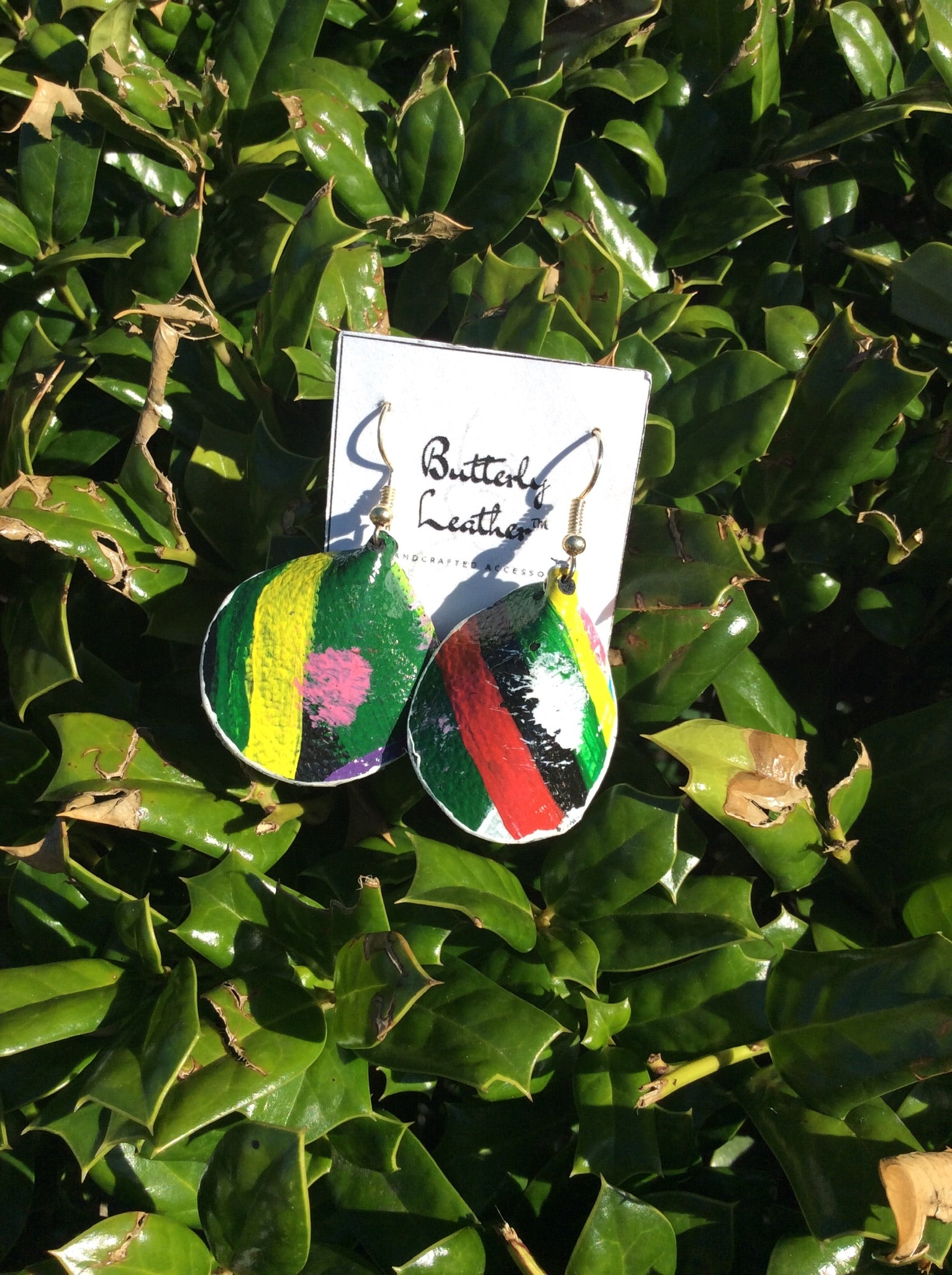 One of a Kind Hand Painted Leather Earrings