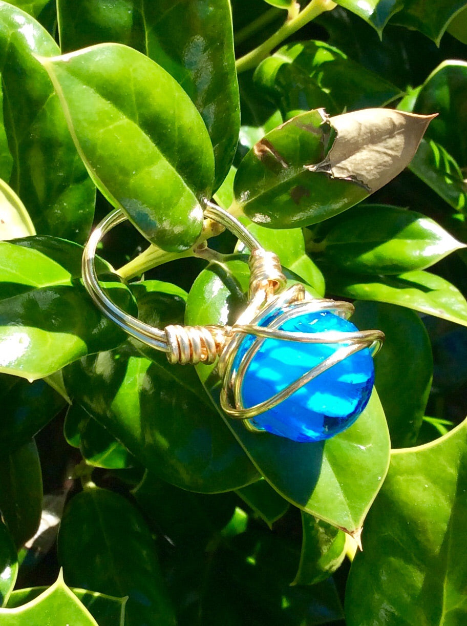 Aqua Ball Wire Wrap Ring
