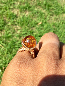 Amber Lamp-work Wire Wrapped Ring