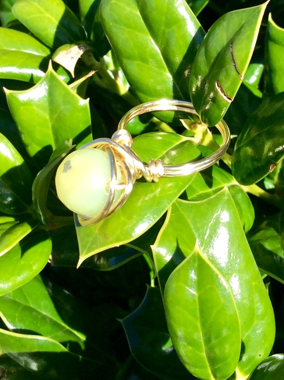 Green Agate Wire Wrapped Ring