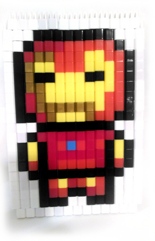 Iron Man Pixel Art made from Pinblock Creative Building Block Toy