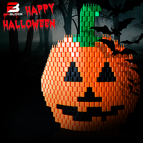 Pinblock_Halloween_pumpkin_pixel_art_creative_building_block_toy