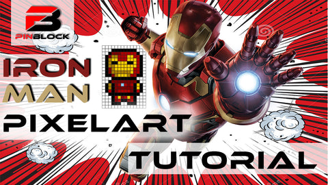 Iron Man made from Pinblocks Pixel Art Tutorial Video