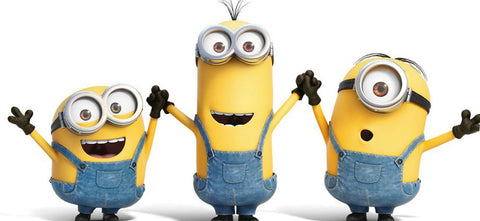 Three Minions holding hands