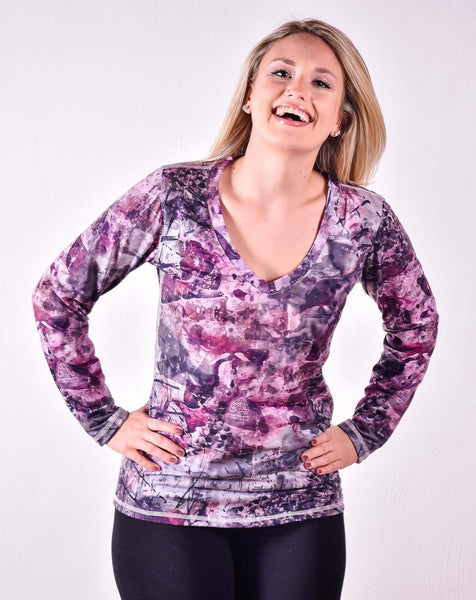 9. Ladies Camomoth® Long Sleeve Rounded V-Neck Shirt in Camomoth® Pink