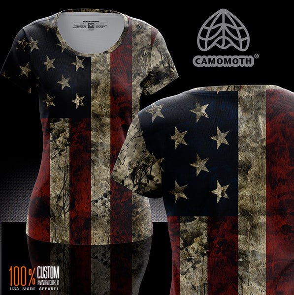Ladies Camomoth® Short Sleeve Ol' Glory