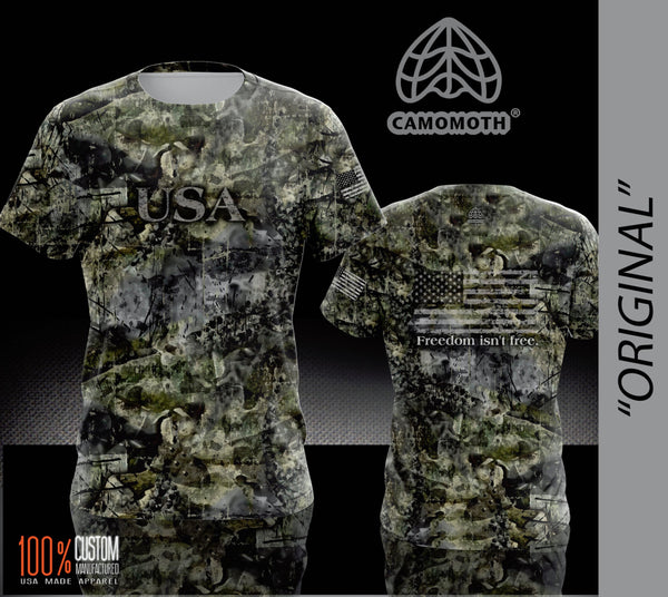 Men's Camomoth® Short Sleeve T-Shirt in Original Camomoth® Green featuring USA