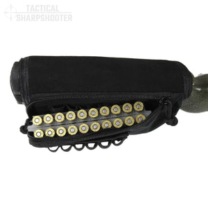 Sniper Stockpack - Black - Synthetic Suede Cheekpad-Stock Packs-Tactical Sharpshooter