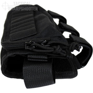 HUNTER STOCKPACK - BLACK - Tactical Sharpshooter Rifle Stock Pack buttstock ammo holder padded cheek rest zippered utility ammo pouch