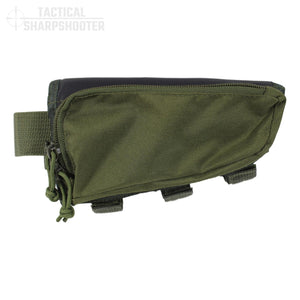 Hunter Stockpack - Green - Tactical Sharpshooter Rifle Stock Pack buttstock ammo holder padded cheek rest zippered utility ammo pouch