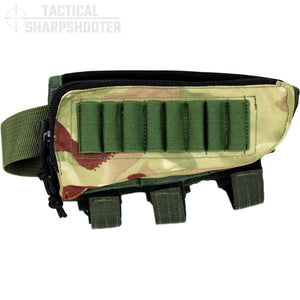 HUNTER STOCKPACK - MULTI/GREEN - Tactical Sharpshooter Rifle Stock Pack buttstock ammo holder padded cheek rest zippered utility ammo pouch