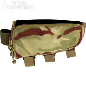 HUNTER STOCKPACK - MULTI/TAN - NO AMMO LOOPS - Tactical Sharpshooter Rifle Stock Pack buttstock ammo holder padded cheek rest zippered utility ammo pouch